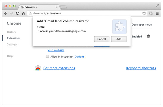 Resizing the left-hand labels column in Gmail – now OK with the